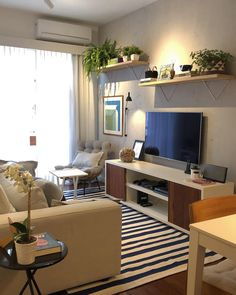 wall decor living room around tv placement ideas 21 Cute Living Room, Living Room Tv, Home And Living, Pinterest Room Decor, Minimalist Dining Room, Sala Grande, Ethnic Home Decor, Apartment Interior, Dining Room Design