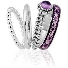 Purple Vintage Bloom Ring Stack   Pandora jewelry at the Charm Junction (Vancouver)