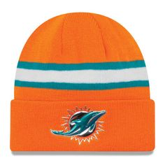Miami Dolphins New Era Color Rush On Field Cuffed Knit Hat - Orange