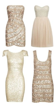 Champagne colored sparkly dresses for bachelorette party theme