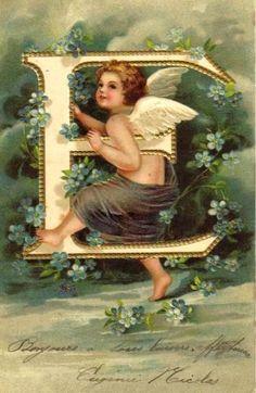 """E"" ~ Vintage Angel Alphabet Postcard, ca. 1900s"