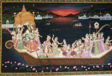 Krishna Nauka Vihar painting by Rajendra Khanna | ArtZolo.com