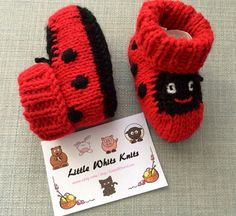 Ladybird knitted baby booties ladybug baby by LittleWhitsKnits