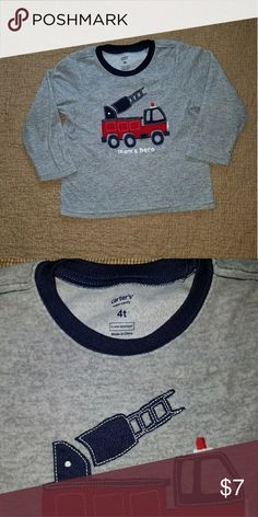 Mom's Hero Fire Truck lightweight fleece - 4T Gently used - excellent condition. Lightweight gray fleece top with red fire truck & navy ladder.   Smoke free home. Carter's Shirts & Tops Tees - Long Sleeve