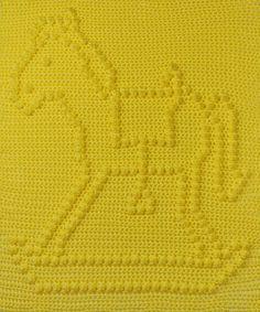 Rocking Horse Baby Blanket Pattern Wall Hanging door TheBabyCrow