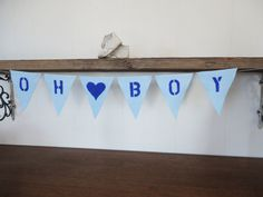 Oh Boy baby bunting. Decorate your baby shower or nursery with the blue felt banner.  #babyboy Sign. SweetThymes.etsy.com