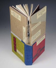 Sewn Board Binding by Roberta Lavadour, perfected by Gary Frost; 20th century. Reclaimed book cloth; Canson Ingres endsheets; French sewing; inset panels in cover. Dimensions: 20 cm x 11 cm x 2 cm.