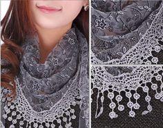 Fashion-Women-Floral-Lace-Tassel-Knit-Mantilla-Triangle-soft-Wrap-Scarf-Shawl