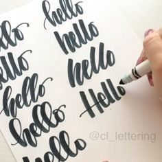 Hello is my favorite practice word so several hehandwriting hand writing handwriting hand writing handwriting hand writing llos to all of you! Hope you… Doodle Lettering, Creative Lettering, Lettering Styles, Brush Lettering, Lettering Design, Calligraphy Letters, Typography Letters, Modern Calligraphy, Hand Lettering