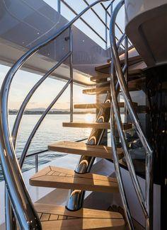 Brigadoon won a World Superyacht Award in May Built by Dutch shipyard Moonen Yachts. Exterior by Rene Van Der Velden and Diana Yachts. Interior Design by Nauta and Studio Indigo. Photo by Breed Media Creative. Contemporary Interior Design, Luxury Interior Design, Yacht Stairs, Architects London, Yacht Interior, Yacht Design, Super Yachts, Luxury Life, Van Life