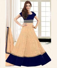 Cream Semi Stitched Net & Velvet Anarkali Salwar Suit