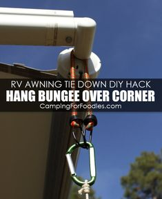 Rv Hacks Discover Genius RV Awning Tie Down Hack! How To DIY VIDEO With 5 Simple Supplies! DIY hack works better than our traditional awning strap kit! I created this VIDEO to show you how to tie down your RV patio awning with my DIY tiedown hack! Rv Camping Tips, Travel Trailer Camping, Rv Travel, Camping Ideas, Travel Trailers, Camping Stuff, Camping Supplies, Outdoor Camping, Tent Camping