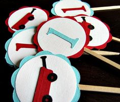 Little Red Wagon Party  Cupcake Toppers  Set of by ScrapYourStory, $12.00