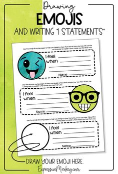 """This fun social and emotional learning activity uses emojis and I statements in an art lesson that included writing """"I statements"""" or (I messages). Students will learn to draw emojis and then design an emoji that shows how they are feeling. They will learn to write an """"I statement"""" that communicates how they feel and a follow up message about what they would like to see happen. Learning To Write, Teaching Art, History Lessons For Kids, Art Classroom Management, Art Critique, I Am Statements, How To Express Feelings, Writing Art, Art Activities For Kids"""