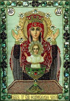"""Ікона з бісеру. Образ Пресвятої Богородиці """"Невипивана чаша"""""""
