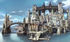Backgrounds from Bravely Default: Flying Fairy Square Enix) Fantasy Art Landscapes, Fantasy Landscape, Landscape Art, Nintendo 3ds, Fantasy City, Fantasy World, Final Fantasy, Bravely Second End Layer, Buildings Artwork