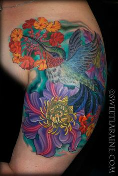 Hummingbird tattoo by Sweet Laraine of San Antonio, TX