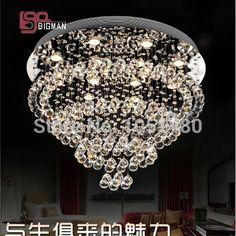 Ronda moderna K9 crystal luces de techo de iluminación lámpara de araña para sala de estar/comedor