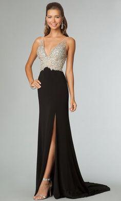 Black Sequins V Neck Slit Long Prom Dresses Sale
