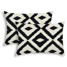 AZTEC Black Indoor/Outdoor Pillow - Sewn Closure (Set of 2), Multicolor(Polyester, Graphic Print), Outdoor Cushion