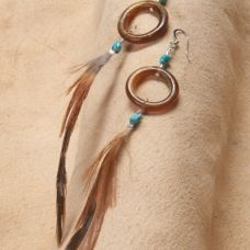 Kitfox Tail Feather Earrings | Lakota Native American Indian Art, Jewelry, and Craft Store | Prairie Passions