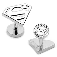 Silver Superman Shield Cufflinks by Cufflinksman