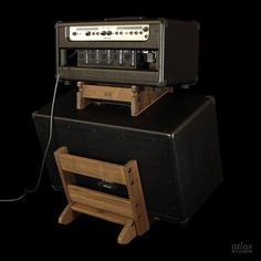 Atlas Stands Black Walnut Standard Series Low Rider Amp Stand with Table Top for separate amp head.