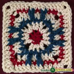 Red Eye Square, free crochet pattern by StitchesNScraps
