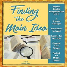 Identifying the main idea of a reading passage is a skill students need to practice over and over again. This print-'n-go resource can help! Students learn to identify the main idea of a reading passage with a teaching component, 6 original informational texts, and practice sheets galore that you can use with any passage! Bonus: This mini-lesson also helps students understand the difference between main idea and theme! Answer keys, learning objectives, and Common Core Standards all included.