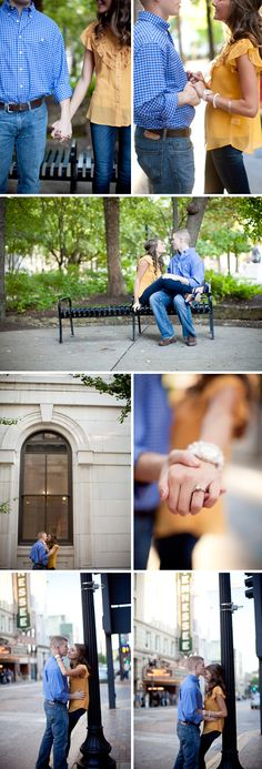 I love the colors in these engagement photos! The yellow/gold shirt looks esp g Engagement Shots, Engagement Couple, Engagement Pictures, Wedding Engagement, Engagement Ideas, Couple Photography, Engagement Photography, Photography Poses, Wedding Photography