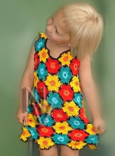 Crochet Dress Pattern ~ This is the cutest little girl dress ever! Love the BRIGHT colors! Crochet Toddler, Crochet Girls, Crochet For Kids, Crochet Baby, Knit Crochet, Crochet Stitches, Little Girl Dresses, Girls Dresses, Mode Crochet
