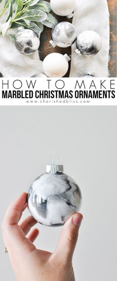 How to Make Marbled Christmas Ornaments – Cherished Bliss – Unique Christmas Decorations DIY White Christmas Ornaments, Black Christmas Trees, Clear Ornaments, Diy Christmas Ornaments, Simple Christmas, Christmas Tree Decorations, Christmas Ideas, Decorating Ornaments, Holiday Ideas