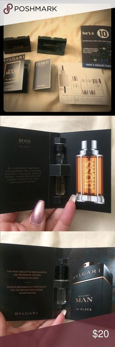 Manly Fragrance Bundle (ft. Haircare) This is a prestige sample bundle featuring the following: 1. BVLGARI Man in Black Eau de Parfum (1.5 ML 0.05 FL. OZ. U.S.)  2. BOSS Hugo Boss The Scent Eau de Toilette  3. Eternity for Men Calvin Klein Eau de Toilette (0.04 FL OZ 1.2 ml)  4. Acqua di Gio Giorgio Armani  5. he's a 10 men's miracle haircare (miracle 3-in-1 shampoo, conditioner, & body wash, miracle defining gel, and miracle pliable paste) 6. Marc Jacobs Decadence Eau de Parfum (1.2 ml 0.04…