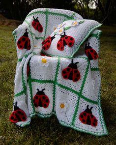 Ladybug Afghan and Pillow - crochet granny squares