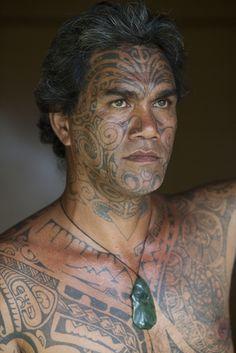 French Polynesia | A typical Polynesian style full body and face tattoo. Moorea Island, Society Islands | ©Aaron Huey