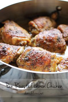 Pan Roasted Lemon Chicken Recipe ~ These chicken thighs are amazingly crisp and flavorful, and you won't believe how easy this is to make!
