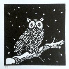 lino print by Red Boy Prints 2015 © Wood Print, Holiday Cards, Owl, Batman, Urban, Superhero, Winter, Prints, Animals