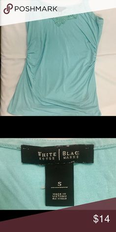 White House Black Market / Size Small  Aqua Pretty Tank with a built in shelf bra. It has gorgeous embroidery in the front.   Thank you SO much for visiting my Posh Closet.  If you have questions just let me know.  Feel free to make an offer and/or bundle.  Happy Shopping!!! 💕💕💕  B1 Tops Tank Tops