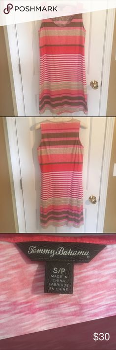 {Tommy Bahama} Fun Striped Dress! Beautiful striped dress from Tommy Bahama! Great as a coverup or just on its own! Has varying sizes of pink, white, tan, and brown stripes and is in great condition! Has a loose fit for a small, if you'd prefer it to fit tighter than it could even fit a medium! Bundles and reasonable offers are welcome! Tommy Bahama Dresses