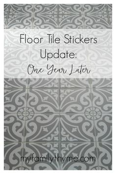 Floor Tile Stickers Update: One Year Later – My Family Thyme After almost one year later, these floor tile stickers are still a stylish, simple, and affordable solution to updating tile in your home. Painting Linoleum Floors, Vinyl Tile Flooring, Tile Decals, Vinyl Tiles, Diy Flooring, Lowes Tile, Painting Bathroom Tiles, Inexpensive Flooring, Flooring Ideas