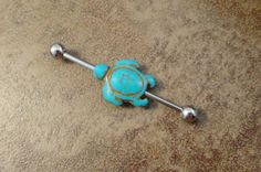 I would get this piercing just so i could wear this! Turquoise Turtle Industrial Barbell Piercing Upper Ear Ring