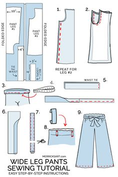 Most recent Screen easy sewing pants Ideas how to sew wide leg linen pants Sewing Pants, Sewing Clothes, Diy Clothes, How To Make Clothes, Wide Leg Linen Pants, Wide Leg Cropped Pants, Sewing Projects For Beginners, Sewing Tutorials, Sewing Tips