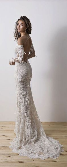 Changes: no sheer over shoulders, sleeves detachable 6 foot macrame train attached above the butt imitrius dalia wedding dress – diamond bridal Country Wedding Dresses, Black Wedding Dresses, Princess Wedding Dresses, Boho Wedding Dress, Bridal Dresses, Wedding Gowns, Tulle Wedding, Bridal Lace, Mermaid Wedding