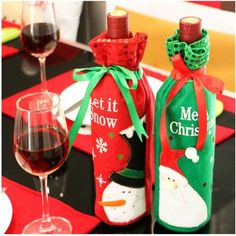 In Ingenious Hot Sale 1pcs Table Decorations Wine Bottle Cover Ornament Wedding Table Decorations Novelty Decoration Snowman Santa Clause L Fashionable Style;