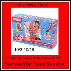 This giveaway is for Baby Alive it is live now and ends on 10/18 at 11:59pm