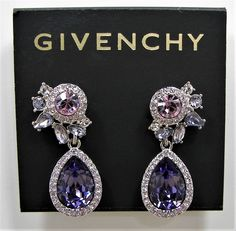 Givenchy Multi Crystal Purple Teardrop Silver Tone Drop Earrings MSRP $58...Only $44.99 with free shipping!  #Givenchy #DropDangle