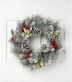 Blooming Holiday Christmas 23'' Pine, Pinecone & Berry Wreath-White/Red