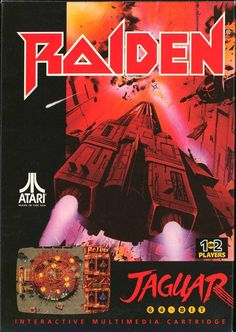 "Box art for the Atari Jaguar version of ""Raiden,"" a top-down shoot 'em up for arcades and other platforms. Released by Seibu Kaihatsu in 1990."