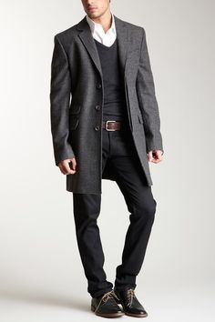 D & G Men Long Plaid/Check Coat grey gray glen plaid