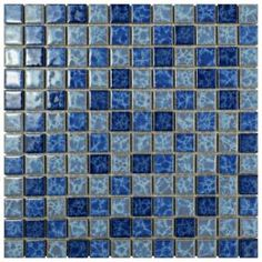 Merola Tile Watersplash Square Aegean in. x 6 mm Porcelain Mosaic - The Home Depot Gym Flooring Tiles, Wet Room Flooring, Floors, Commercial Flooring, Commercial Kitchen, Blue Kitchen Cabinets, Tile Wallpaper, Tile Projects, Mosaic Tiles